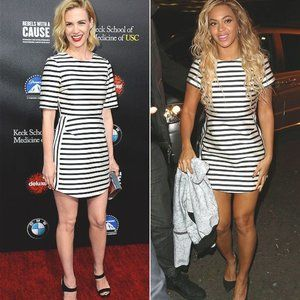 TOPSHOP Satin Black White Striped Mini Dress 2 XS
